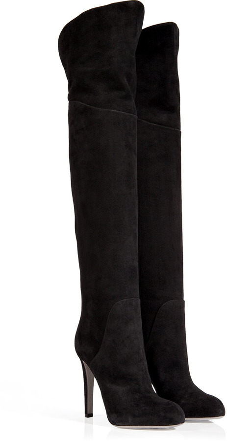 ... Sergio Rossi Suede Over The Knee Boots In Black ... ad81acf38