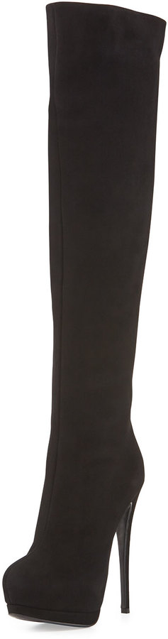 6d384b447f8 ... Giuseppe Zanotti Suede Over The Knee Platform Boot Black ...