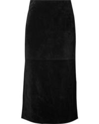 Saint Laurent Suede Midi Skirt