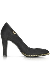 Loriblu Black Suede Pump Wgold Tone Decorative Zip