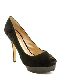 DKNY Lucinda Black Peep Toe Suede Platforms Heels Shoes