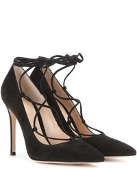 Gianvito Rossi Fem Lace Up Suede Pumps