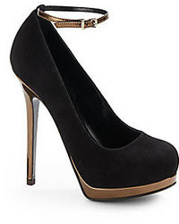 Fendi Let Me In Suede Metallic Leather Ankle Strap Pumps