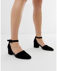 Vagabond Mya Black Suede Pointed Block Heeled Shoes