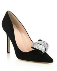 Kate Spade New York Louisa Glitter Bow Suede Pumps