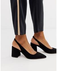ASOS DESIGN Samson Slingback Mid Heels In Black