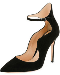 Gianvito Rossi Scalloped Suede Ankle Wrap Pump