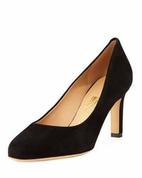 Salvatore Ferragamo Suede 70mm Pump Black