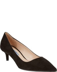 Prada Suede Kitten Heel Pumps