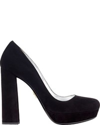 Prada Suede Platform Pumps Black
