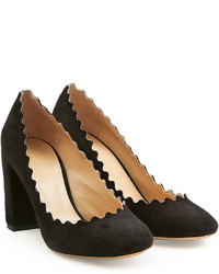 Chloé Suede Pumps With Scalloped Trim