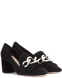 Miu Miu Embellished Suede Pumps