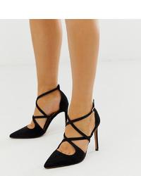 ASOS DESIGN Wide Fit Wren Pointed High Heels In Black