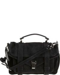 Black Suede Satchel Bag