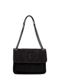 Saint Laurent Black Croc Suede Medium Niki Bag