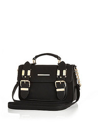 River Island Black Faux Suede Mini Satchel Handbag
