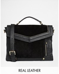 Asos Leather And Suede Mix Zippy Satchel Bag Black