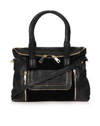 Topshop Multi Zip Fold Pocket Leather Tote Bag