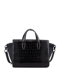 Pelican crocodile embossed satchel bag black medium 122443
