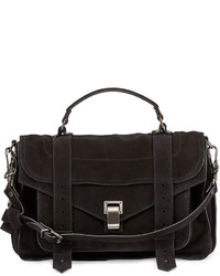 Proenza Schouler Ps1 Medium Suede Satchel Bag Black