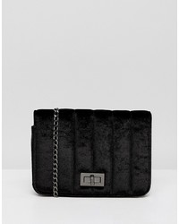 French Connection Velvet Quilted Bag With Chain Strap
