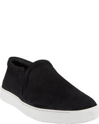 Red Shorts Black Suede Slip-on Sneakers