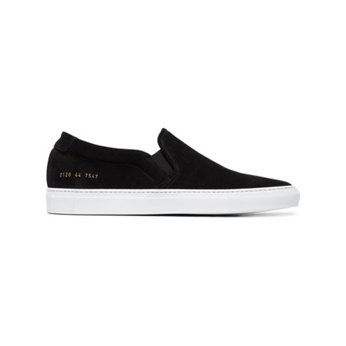2f9a7a6a8232 Common Projects Black Suede Slip On Sneakers