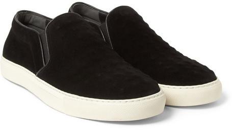 black suede slip on