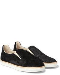 Maison Martin Margiela Embossed Velvet Slip On Sneakers