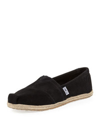 Toms Suede Espadrille Slip On Black