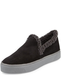 Stuart Weitzman Nowplaying Shearling Sneaker Black