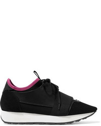 Balenciaga Race Runner Leather Mesh And Neoprene Sneakers Black