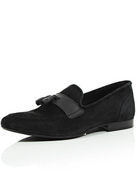 River Island Black Suede Tassel Loafers