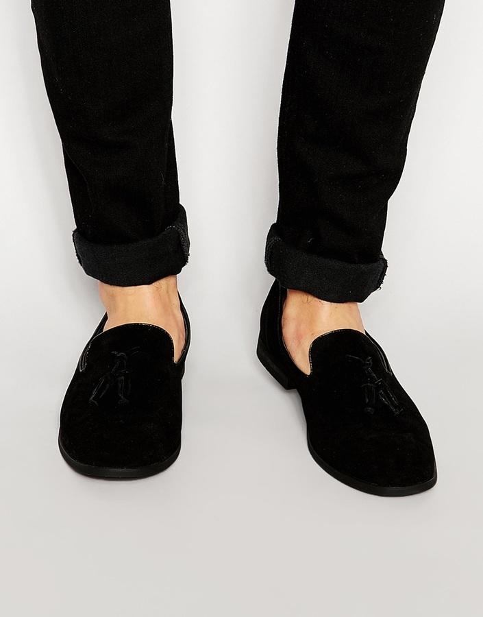 Asos Brand Tassel Loafer In Black Faux