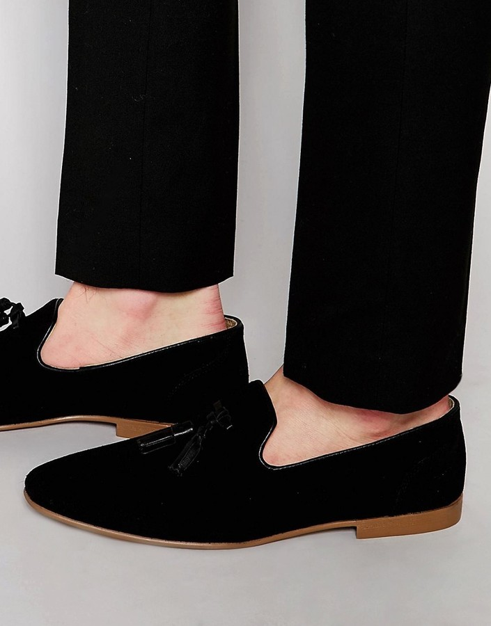 aee5b1e2 $65, Asos Brand Tassel Loafers In Black Suede With Natural Sole