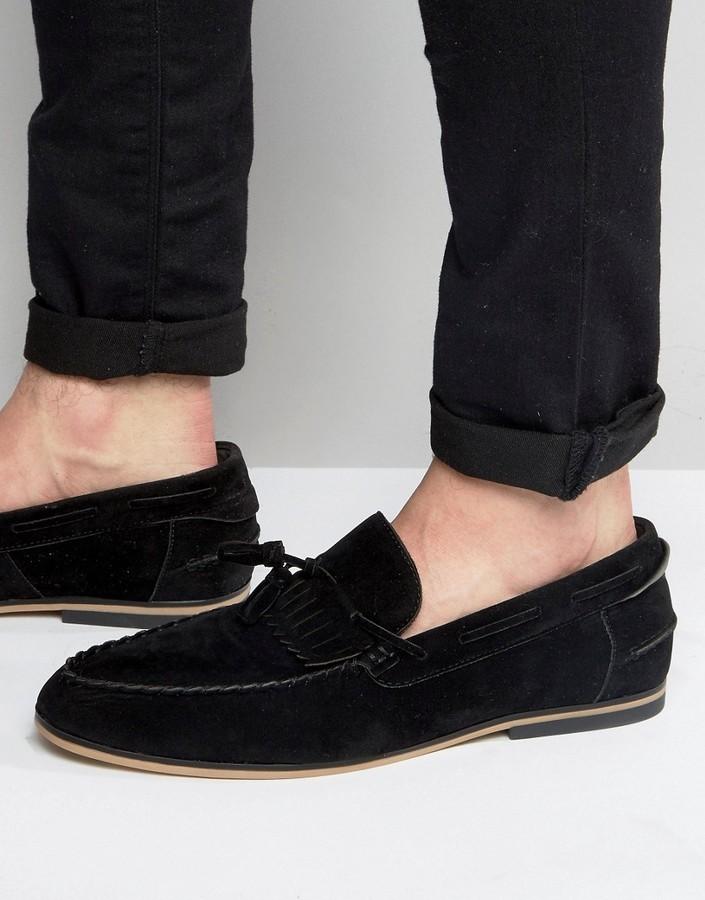 Asos Tassel Loafers In Black Faux Suede