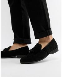 Dune Tassel Loafers In Black Suede