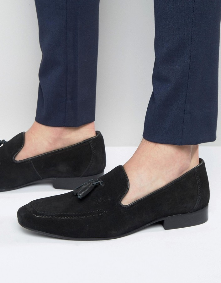 Red Tape Tassel Loafers In Black Suede
