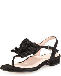 Black Suede Thong Sandals