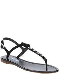 Black suede grommeted thong sandals medium 541983