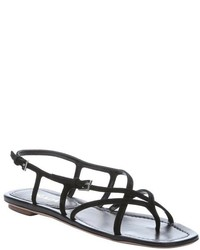 Prada Black Suede Strappy Thong Sandals