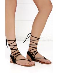 7c249834961b ... Steve Madden Walkitt Black Suede Leather Lace Up Sandals