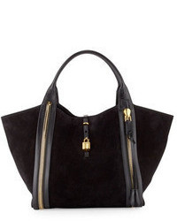 Black Suede Tote Bag