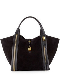 Tom Ford Amber Double Zip Leathersuede Tote Bag Black
