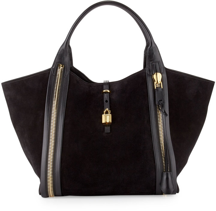 Tom Ford Amber Double Zip Leathersuede Tote Bag Black | Where to ...