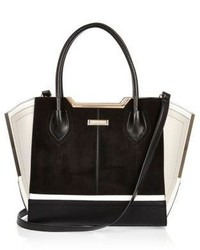 River Island Black And White Suede Winged Tote Bag
