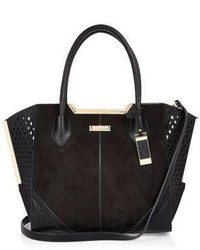 River Island Black Laser Cut Winged Tote Bag