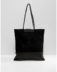 ASOS DESIGN Croc Embossed Suede And Leather Shopper Bag