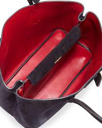 f73d1b5401663 ... Prada Suede Medium Double Bag Blackred