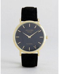 Reclaimed Vintage Inspired Suede Leather Watch In Blackgold